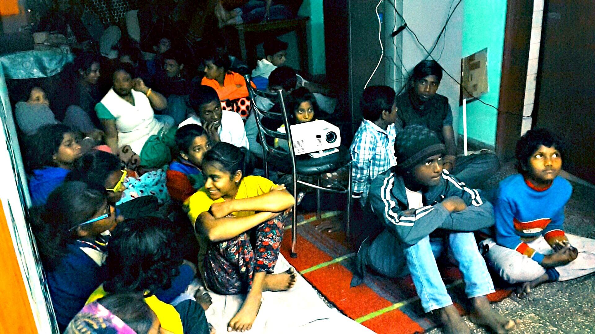 Adolescents attending the film screening